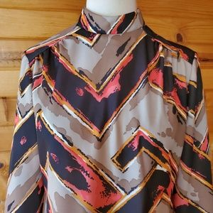 Vintage Dresses - 1970s ILGWU Multi-Color Polyester Dress